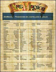 Guía de traducción de Ars Magica