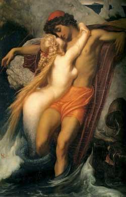 El pescador y la sirena, de Frederic Leighton
